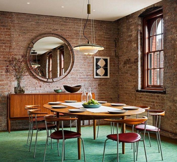 Möbel Loft Esszimmer Gestalten Ziegelwand Grüner Boden Runder Wandspiegel