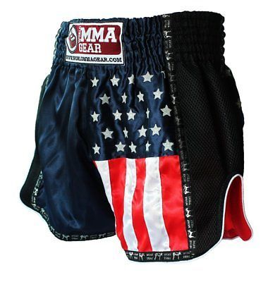 NEW! World MMA Gear Muay Thai Shorts, Thai boxing, MMA - with American flag Navy