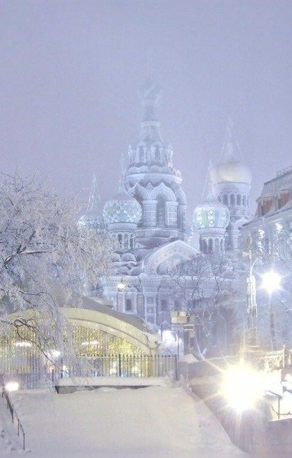 Winter evening in St. Petersburg, Russia.