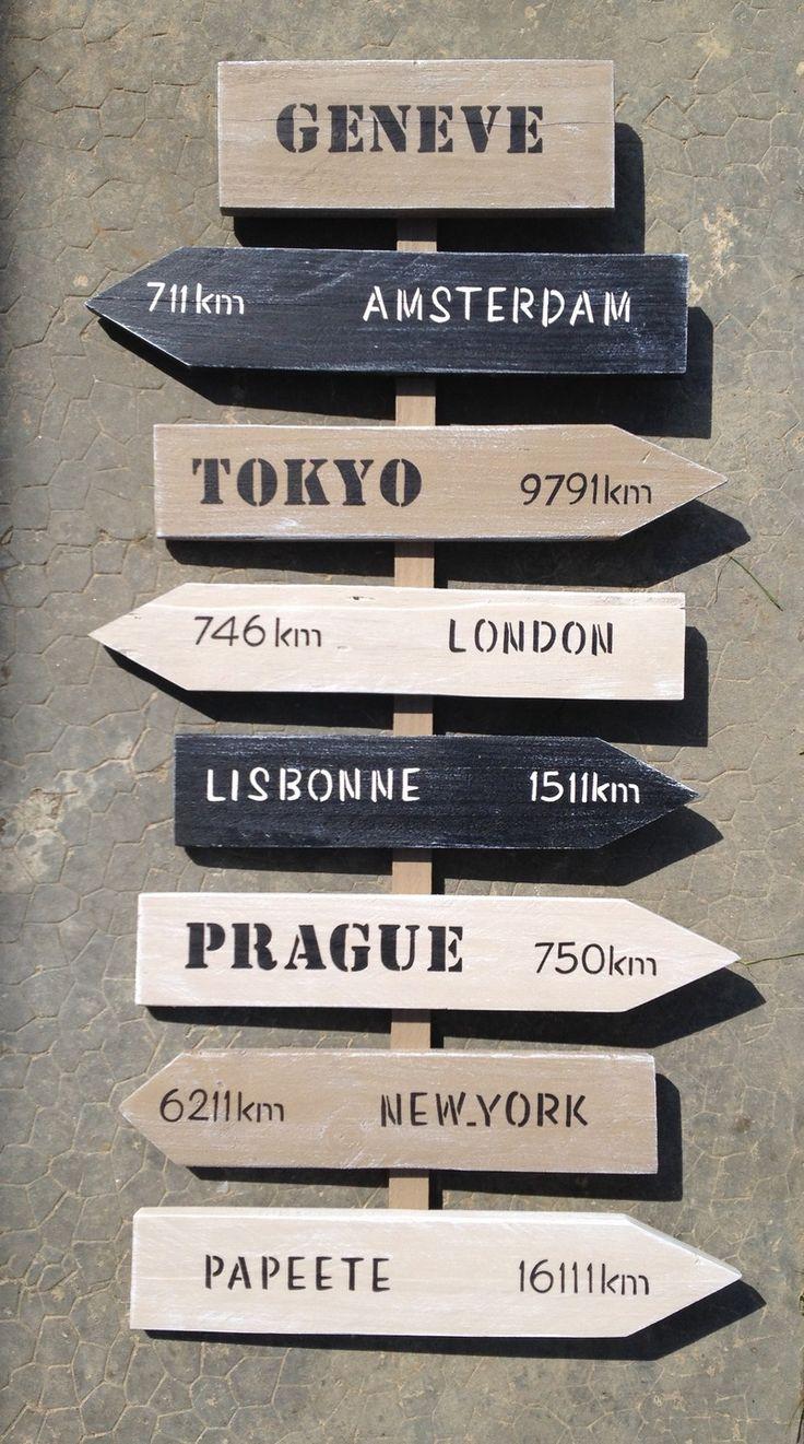 panneau de direction personnalisable avec flèches en bois de palette