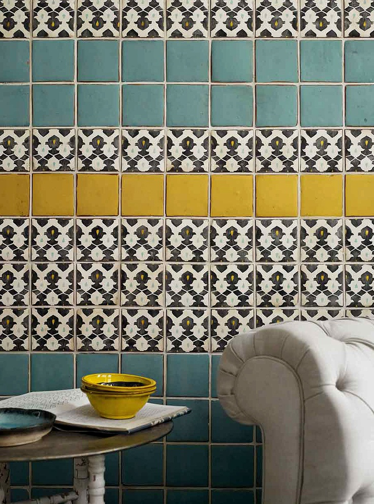 Turquoise and yellow tiled/ B&W accent. This patten could tie the new black counters in with old yellow tile c. 1926 ...around stove alcove and above backsplash?