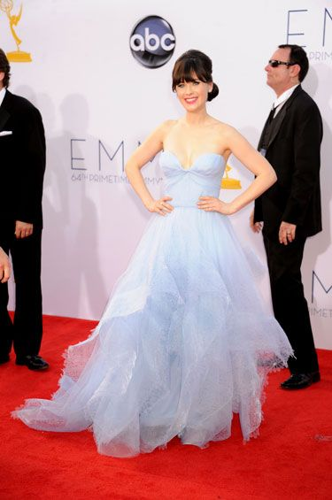 """Emmys 2012: The Best of the Red Carpet - """"New Girl"""" nominee Zooey Deschanel dons a periwinkle blue confection by Reem Acra."""