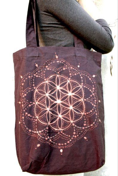FLOWER of LIFE... Eco Cotton Bag handpainted by SiamicWear on Etsy