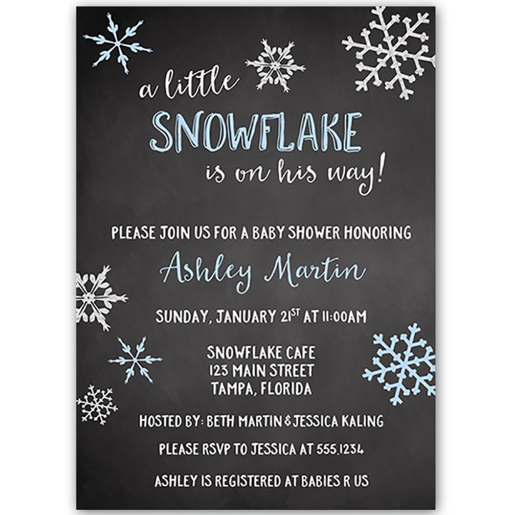 Little Snowflake Chalkbaord Blue Baby Shower Invitation - Invite guests to your boy baby shower with this simple winter themed invitation featuring snowflakes and decorative blue lettering on a gray background.