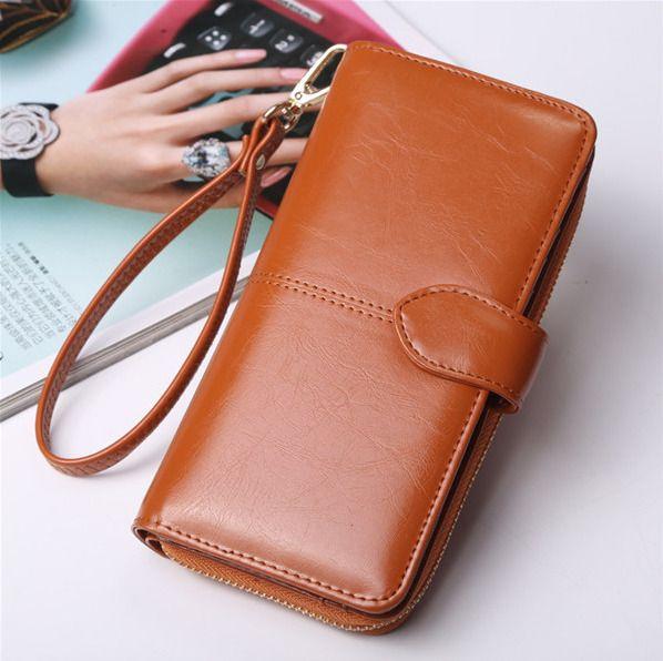 Elegant Clutch Oil Leather Long  Wallet Girls Vintage Purse Card Holder Clutches #Unbranded #Clutch