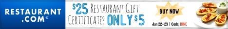 $25 Restaurant.com gift certificates for only $5!!!!  - http://extremecouponprofessors.net/2013/01/25-restaurant-com-gift-certificates-for-only-5/