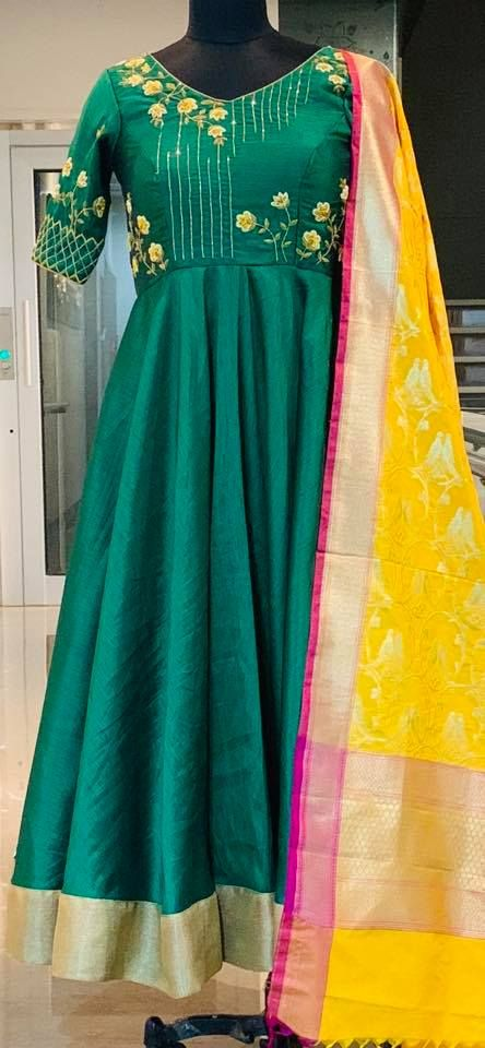 f7f41787f743f Beautiful bottle green color floor length dress with yellow colo benaras  dupatta. Floor length dress with floret lata design hand embroidery gold  thread ...