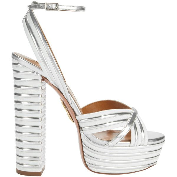 Aquazzura Sundance Silver Platform Sandals ($895) ❤ liked on Polyvore featuring shoes, sandals, silver platform shoes, silver sandals, aquazzura sandals, aquazzura and platform sandals