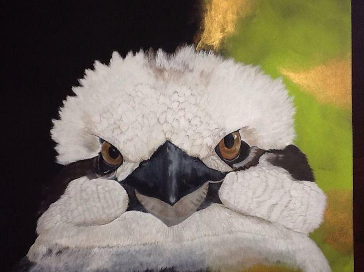 """Kookaburra selfie"" 20"" x 24"" acrylic on canvas . For SALE $399  (www.artonpartridge.wix.com/artist)"