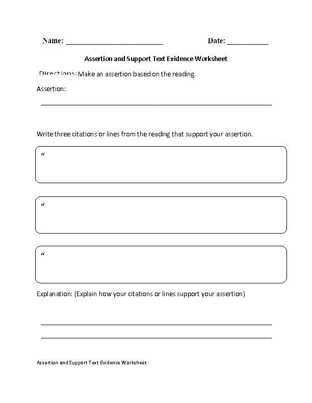 assertion and support text evidence worksheet. Black Bedroom Furniture Sets. Home Design Ideas