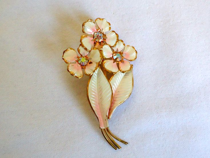 Vintage Brooch Pink Enamel Aurora Borealis Rhinestones Pin Mid Century by TreasureCoveAlly on Etsy