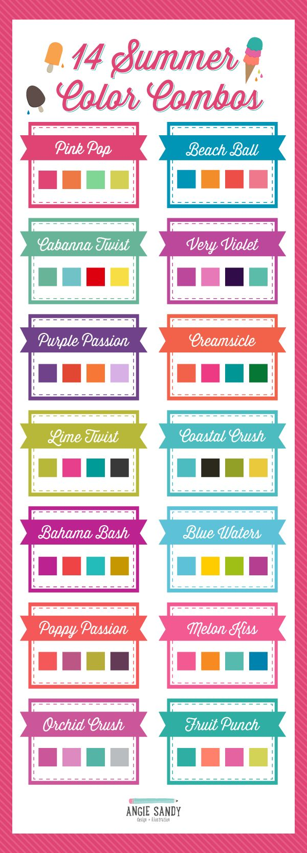 14 Bright Summer Color Palettes | Angie Sandy Design + Illustration #colorpalette #colorcrush