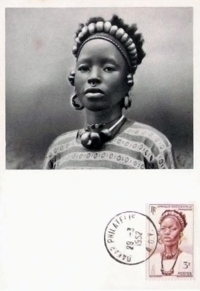 Africa |  Young woman from Djenne.  French Sudan (now Mali).  ca. 1952 || Scanned postcard; published by Ionyl Labos La Biomarine Dieppe.