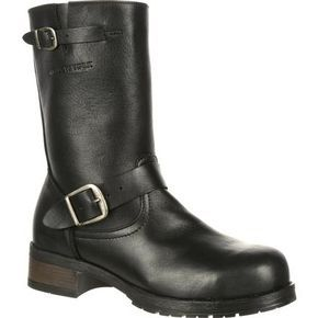 I like these boots for you because they are steel toe but also edgy and stylish with the buckles and motorcycle boot shape. Also, they should be easy to slip on and off.