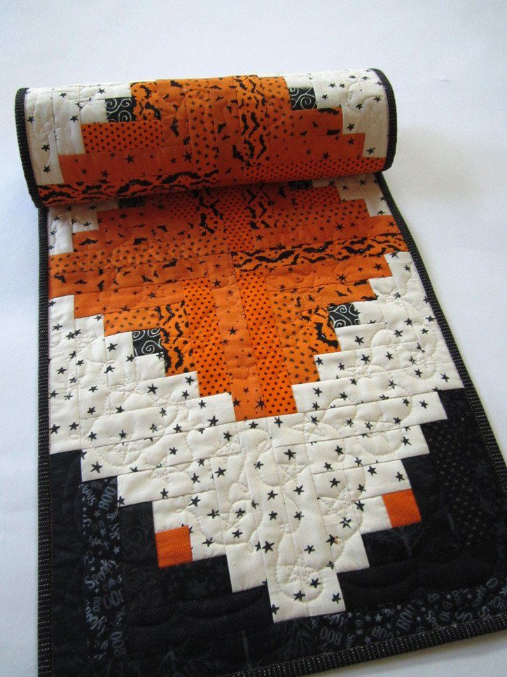 Halloween Quilted Table Runner in Orange and Black by patchworkmountain.com