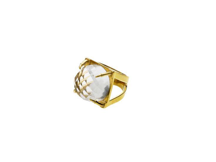 PUSHMATAaHA/ Square Claw Ring // Crystal with Gold