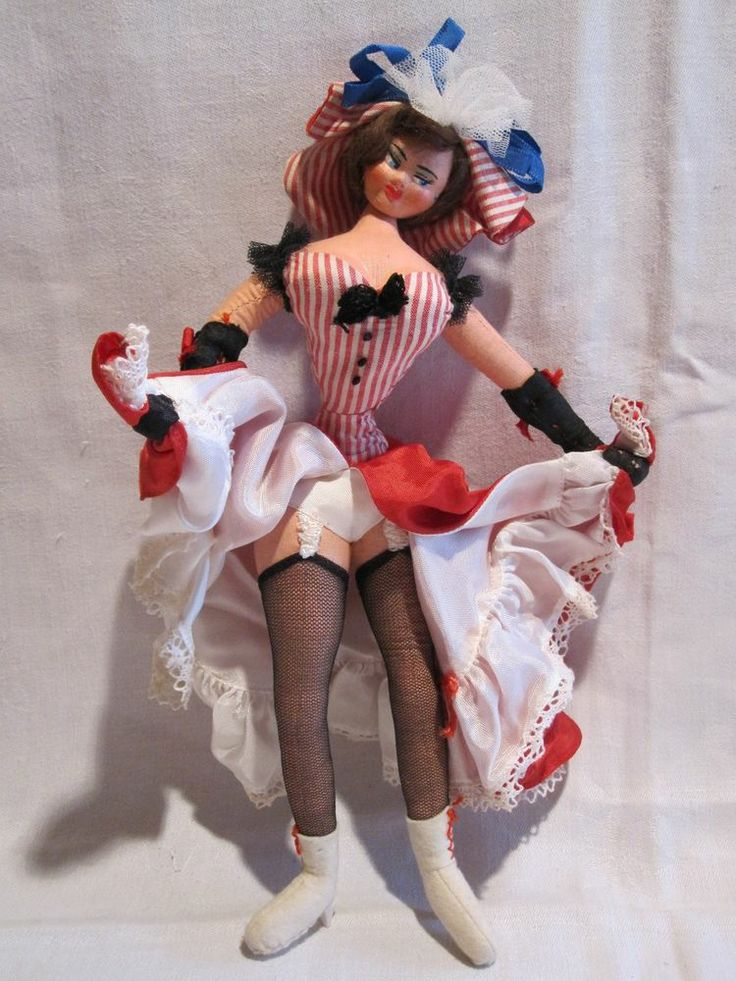SOLD 1950s LAYNA Spain cloth doll sexy Can-Can dancer w/ fishnet stockings ooh la la