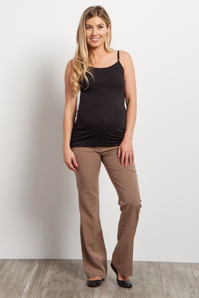 Brown Maternity Dress Pants