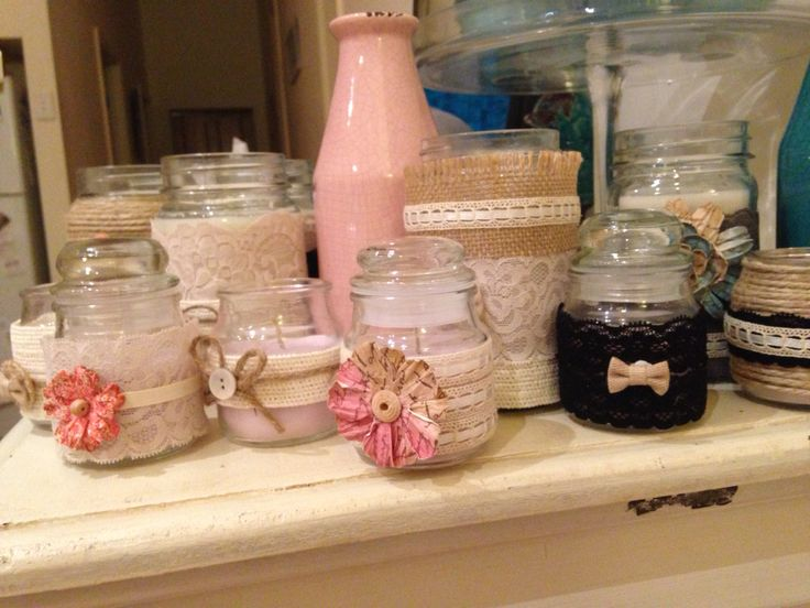 Wedding preparations DYI collect your jars and with a few pieces from spotlight you have wonderful homemade vintage style decos.
