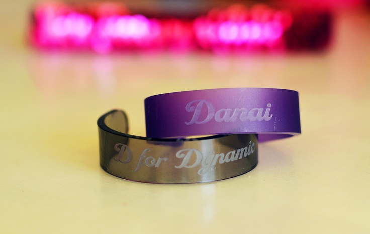 Set of two personalized handmade acrylic bracelets