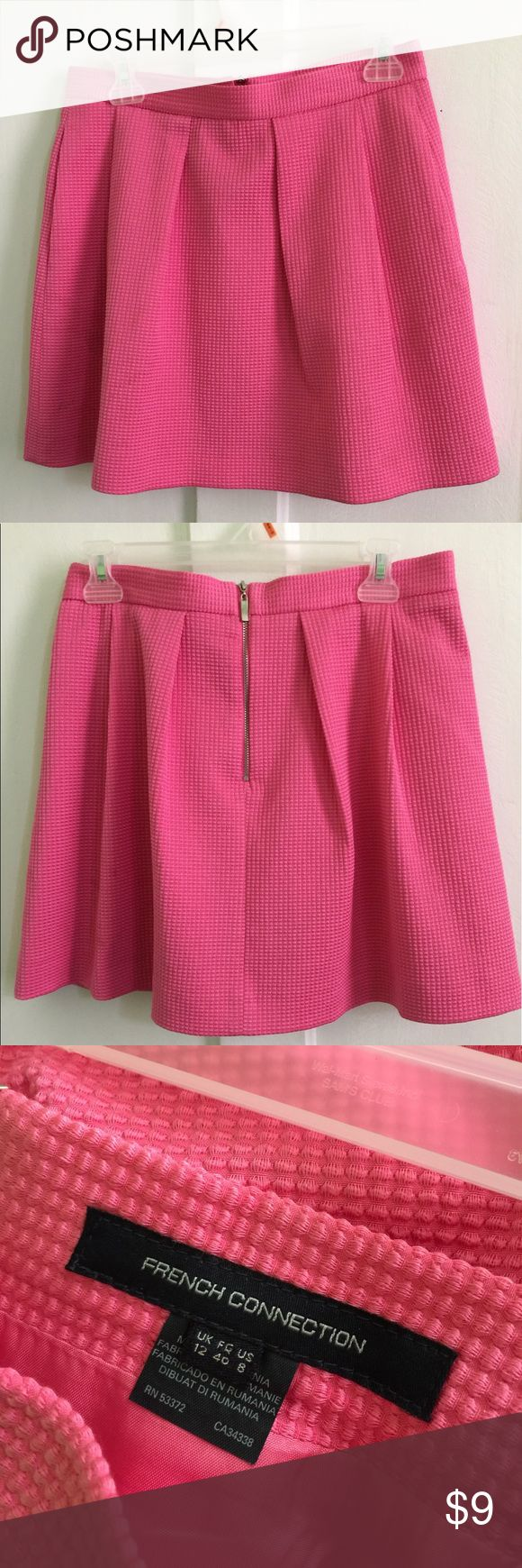 Pink French Connection Mini Skirt, Size 8 Adorable pink mini skirt from French connection, size 8 - but runs more like a 6. Only worn once. French Connection Skirts Mini