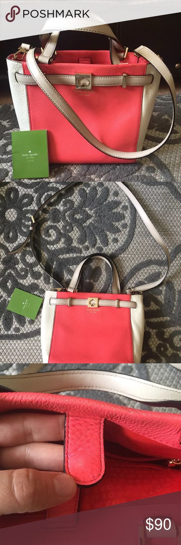Kate spade coral leather tote crossbody Houston st Kate spade leather crossbody tote in coral color. It is the Leo Houston street crossbody. Has a few markings and a little normal wear but overall good condition! $355 msrp. kate spade Bags Crossbody Bags