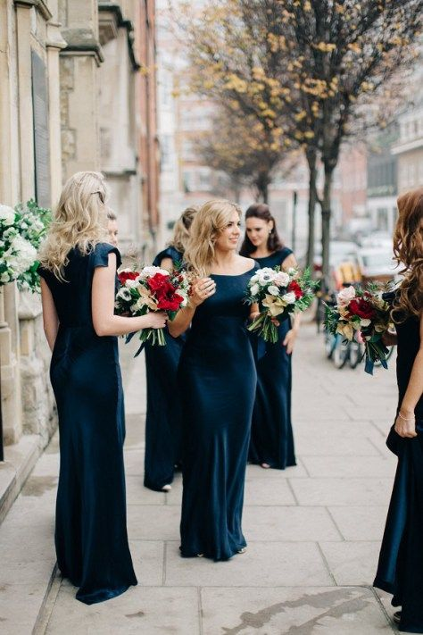Navy blue bridesmaid dresses and red wedding bouquets perfect for winter wedding ,Elegant Navy & Gold Winter Wedding