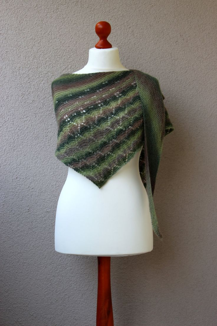 green striped shawl wool scarf triangle shawl green beige lace autumn shawl by OlaKnits on Etsy