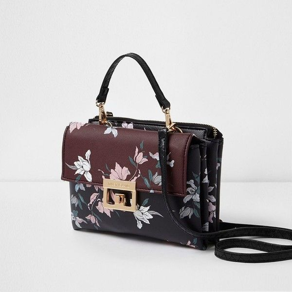 River Island Dark red floral print lock front mini bag ($52) ❤ liked on Polyvore featuring bags, handbags, bags / purses, cross body bags, red, women, red hand bags, red purse, purses crossbody and floral purse
