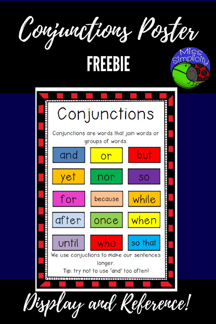 Freebie 1 page CONJUNCTIONS poster