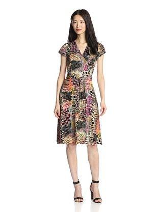 52% OFF Leota Women's Cap Sleeve Perfect Faux Wrap Dress (Alligator)