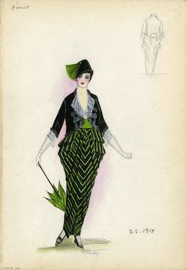 """""""Day dress and jacket, Doucet, 1914. Long dress with skirt draped at hips in green and black stripe; sheer white blouse with ruffle at neck and sleeves; black open jacket; wide green waist sash; green parasol trimmed in black; black hat with green tassel. (Bendel Collection, HB 007-39)"""", 1914. Fashion sketch. Brooklyn Museum, Fashion sketches. (Photo: Brooklyn Museum, SC01.1_Bendel_Collection_HB_007-39_1914_Doucet_SL5.jpg)"""