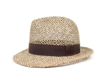 Fedora summer hat. Handmade of 100% natural sea grass, with cotton sweatband and trimmed with dark brown textile ribbon.