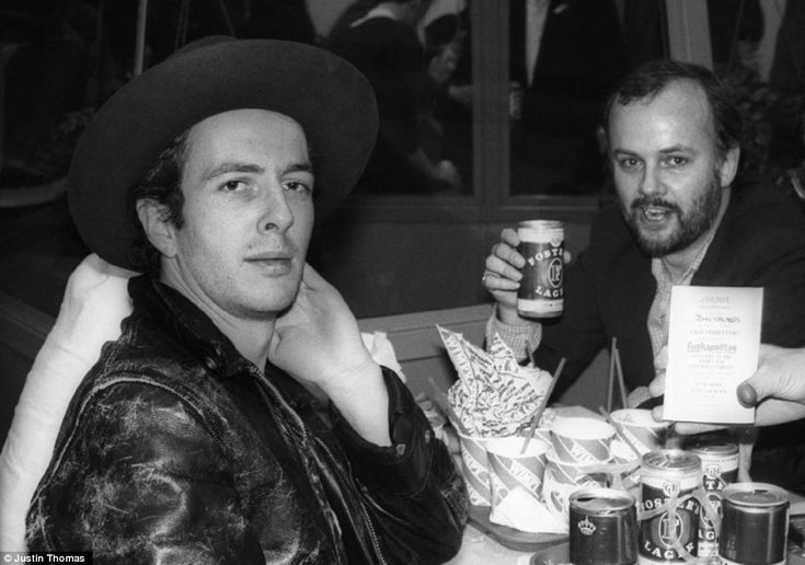 Joe Strummer and John Peel at a Wimpy bar in Piccadilly Circus, central London in July 1981