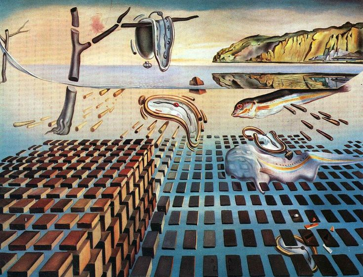 The Disintegration of the Persistence of Memory, 1954 by Salvador Dali - Dali uses a lot of negative space in this painting, when i first looked at it, I thought I saw a blue grate.  However, the black bricks are the positive space, with the blue area being the negative space.