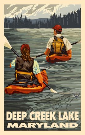 PAL-4596 KYK Deep Creek Lake Maryland Kayakers - Northwest Art Mall