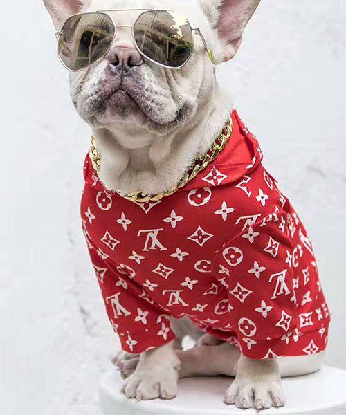 シュプリーム x ルイヴィトン コラボ 犬服 パーカー supreme x lv 犬用フーディー ヴィトン ドッグウェア 小型犬 中型犬 大型犬 おしゃれ プードル チワワ ダックスフンド パロディ洋服♡2017FW大注目!!
