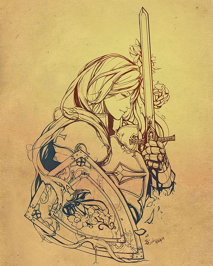 tattoo | ink | drawing | female | fighter | crusader | sword | shield