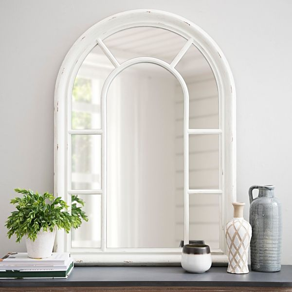 Jordana Distressed White Wood Arch Mirror Wood Arch Arch Mirror Window Mirror Decor