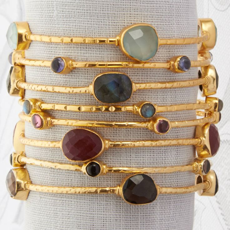 Gold And Semi Precious Stone Bangle