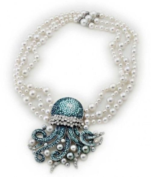 Necklace from the Italian House of SICIS, 18K white gold, diamonds, pearls and micro-mosaic♥≻★≺♥