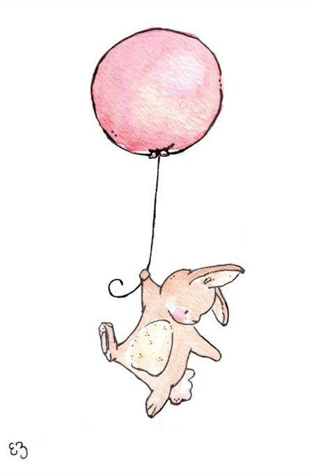 Hand-painted illustrations Meng Department bunny / elephant / girl animal ╯ з) Mody Mody