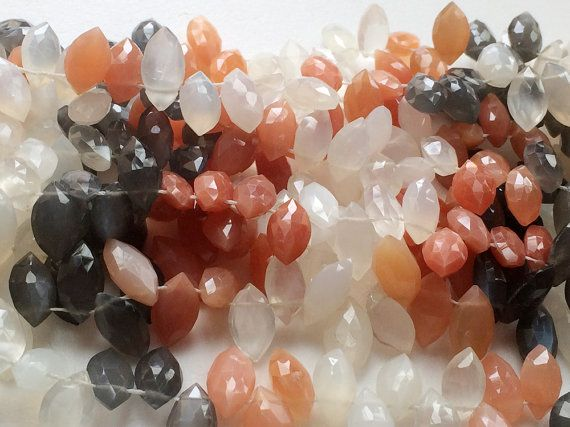 Multi Moonstone Faceted Marquise Beads Multi by gemsforjewels