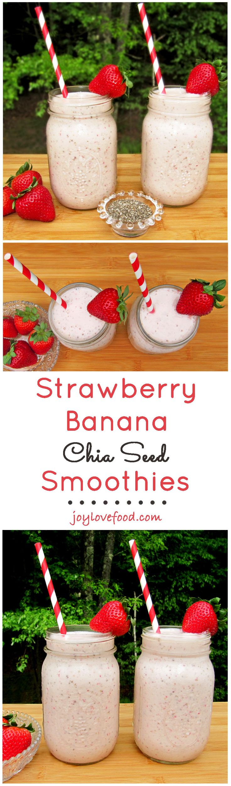 Strawberry Banana Chia Seed Smoothies