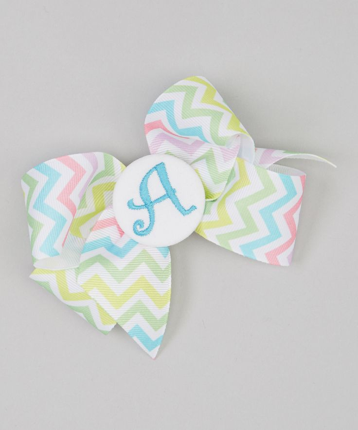 Pink & Green Chevron Initial Bow Clip