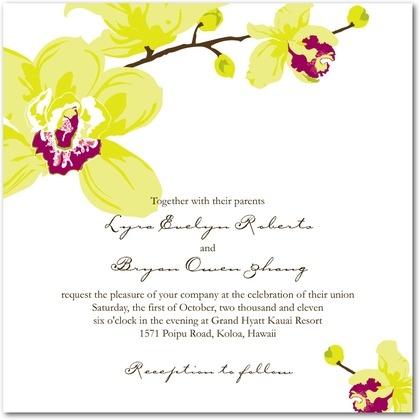 Signature White Textured Wedding Invitations Artistic Orchids - Front :  - WeddingPaperDivas