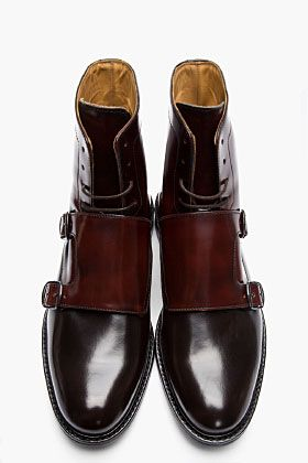CARVEN Burgundy two-tone monk strap boots - LURVE!