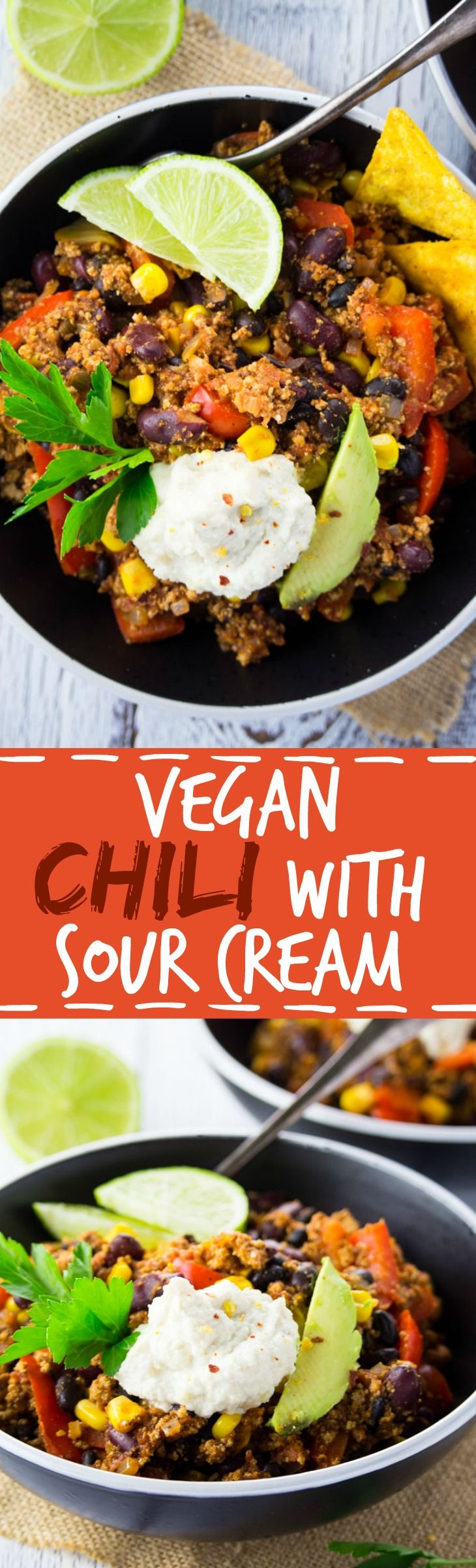 You definitely won't miss the meat in this easy vegan tofu chili with cashew sour cream! Super delicious and packed with protein!