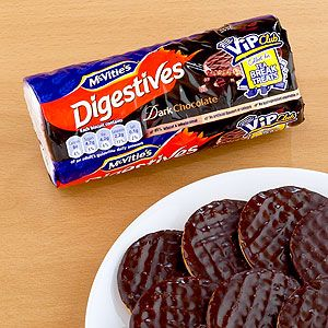 Terrible name but delicious cookie:   McVitie's Dark Chocolate Digestive Biscuits