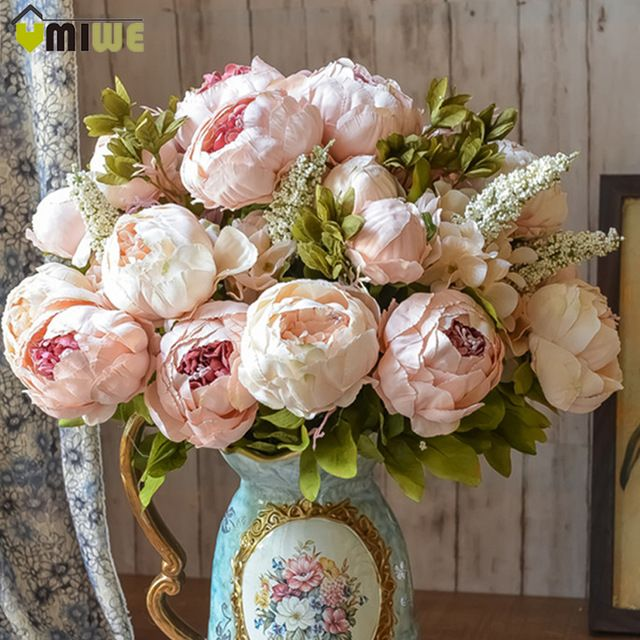 Umiwe 13 Heads European Style Fake Artificial Peony Silk Decorative Party Flowers For Home Hotel Wedding Office Garden Decor